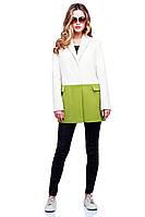 Очаровательное демисезонное пальто-пиджак в сочетании двух цветов