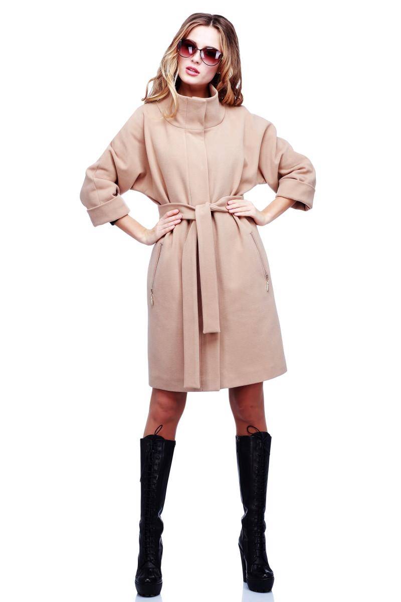 942a4d142ea Модное весеннее пальто из кашемира воротник стойка с поясом