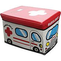 """Пуф-короб для игрушек """"скорая помощь"""" 49*31*31 см"""