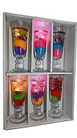Свечи гелевые Бокал большие, светодиодные, набор 6 шт.