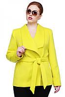 Качественное весеннее пальто Эльвира в лимонном цвете с поясом