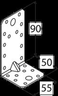 Уголок усиленный KP 3 (90 мм х 50 мм х 55 мм х 2,5 мм) Domax Польша строительный крепеж