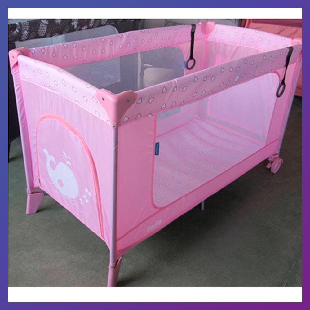 Детский игровой манеж-кровать на 2 колесах El Camino ME 1016 Rose Len розовый с чехлом