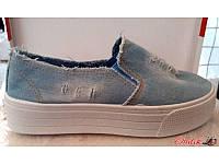 Слипоны женские джинсовые светлые KF0190