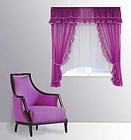 """Кухонная штора """"Сельва"""" на две стороны. 3 м. белый с фиолетовым"""