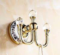Крючок для ванной Triple Crystals Gold