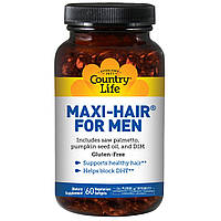 Комплекс витаминов для здоровья волос у мужчин, 60 капсул, Country Life, Maxi Hair for Men
