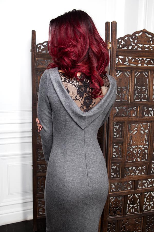 Стильное трикотажное платье с кружевной спиной 173, фото 1
