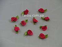 Маленькая тканевая розочка ярко-розовая 1.3см*2см(1 упаковка 10розочек)