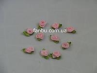 Маленькая тканевая розочка нежно-розовая 1.3см*2см(1 упаковка 10розочек)