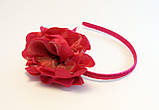 Обруч для волосся з тканинним квіточкою-12 шт. - ширина 0,9 див. * Ø 11,0 див., фото 2