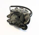 Обруч для волосся з тканинним квіточкою-12 шт. - ширина 0,9 див. * Ø 11,0 див., фото 3