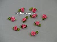 Маленькая тканевая розочка розовая 1.3см*2см(1 упаковка 10розочек)
