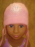 Розовая вязаная шапка на девочку, фото 1