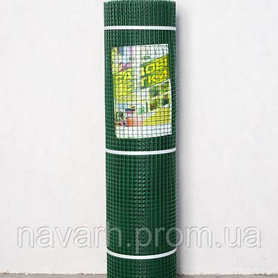 """Сетка пластиковая (""""забор, ромб"""") 30мм х 30мм 1,5м х 10м темно-зеленая"""