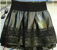 Детская стильная супер-модная черная юбка из эко кожи+кружево. Арт-1525