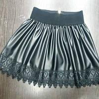 Детская стильная супер-модная черная юбка из эко кожи+кружево. Арт-1526