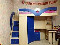 Кровать чердак ( ЛДСП 16 мм, ПВХ 2мм,стол,шкаф,защита)