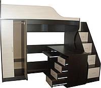 Кровать - чердак (шкаф,стол,лестница-комод,защита,ЛДСП 16 мм, ПВХ 2 мм)