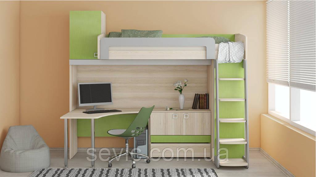 Кровать чердак (стол,комод,лестница,защита)