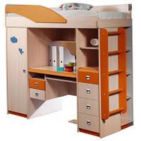 Кровать чердак (стол, лестница,шкаф, полки, тумба)