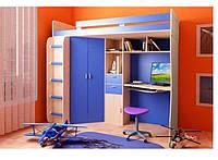 Кровать чердак (стол, лестница,шкаф,полки)