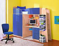 Кровать чердак ( ЛДСП 16 мм,ПВХ 2 мм,шкаф,полки, лестница,стол,защита)