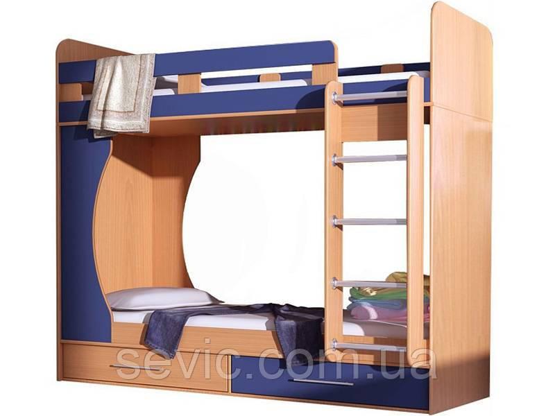 Кровать чердак ( 2 места, лестница, защита,ЛДСП 16 мм)