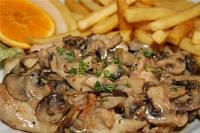 Свинина запеченная с сыром и грибами