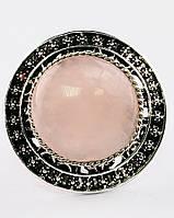 Красивое кольцо с розовым кварцом