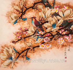 """Набор для вышивания бисером (на подрамнике) """"Птичка на сакуре"""""""