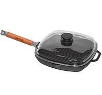 Сковорода чугунная гриль квадратная 260 мм со стеклянной крышкой Биол
