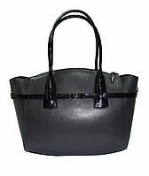 Женская сумка кожаная серо-чёрная, фото 1