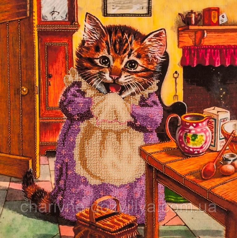"""Набор для вышивания бисером (на подрамнике) """"Кошка поварюшка"""""""