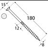 Шуруп самонарезающий для дерева (потайная головка) СS 08180 (8 мм х 180 мм) Domax Перфорированный крепеж