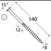 Шуруп самонарезающий для дерева (потайная головка) СS 08140 (8 мм х 140 мм) Domax Перфорированный крепеж