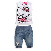 Джинсовые бриджи и майка Hello Kitty
