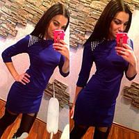 Женское синее мини платье со стразами