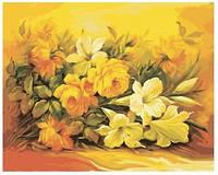 Картина по номерам Роспись на холсте Букет в желтом цвете КН2037 40*50 см