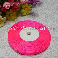 Лента из органзы, 0,6 см,  ярко-розовая