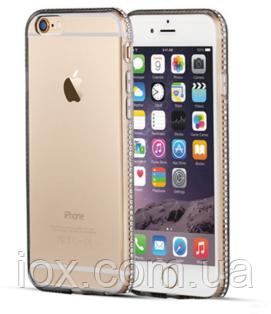 Черный силиконовый чехол с камнями Сваровски для Iphone 6