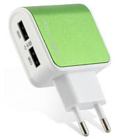 USB адаптер в 220 V 5V 2.4A на 2 USB разных цветов