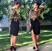 Женское платье с леопардовым верхом