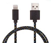 Шнур зарядка для iphone 5, 5S, 5С, 6, 6+  1m черный