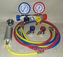 Коллектор 4-х вент. со шлангами, быстросъёмами и инжектором