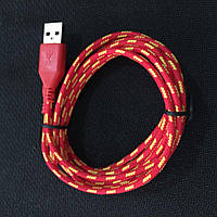 Шнур зарядка для iphone 5, 5S, 5С, 6, 6+  1m красный
