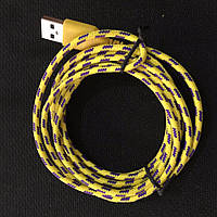 Шнур зарядка для iphone 5, 5S, 5С, 6, 6+  1m желтый