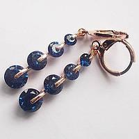 """Серьги """"Капли"""", круглый (синий) цирконий. Ювелирная бижутерия, позолота 18К."""