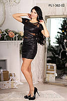 Женское платье короткое с сеткой черное р. 48