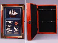 """Ключница настенная на 6 крючков, 20х7х33 см. """"Кораблик"""" коричневая"""